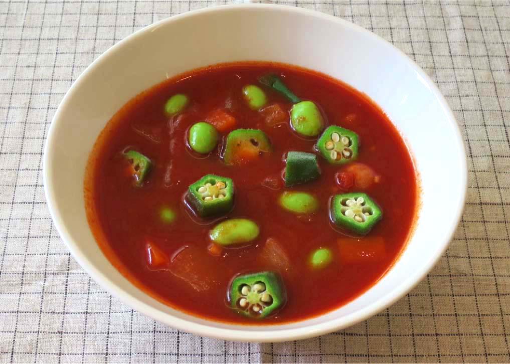 枝豆、オクラのトマトスープ